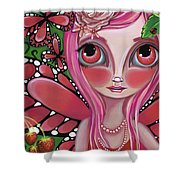 Strawberry Butterfly Fairy Shower Curtain