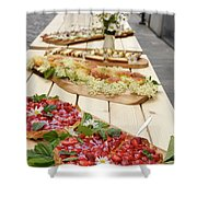 Strawberry Cake And Other Snacks On A Wood Table Outdoors On Sta Shower Curtain