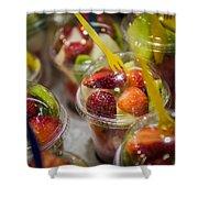 Strawberry Desert - La Bouqueria - Barcelona Spain  Shower Curtain