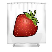 Strawberry Fruit Outlined Shower Curtain