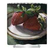 Strawberry Still Life Shower Curtain