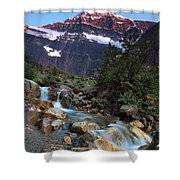 Stream And Mt. Edith Cavell At Sunset Shower Curtain