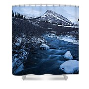 Mountain Stream In Twilight Shower Curtain