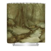 Trees By Stream Shower Curtain