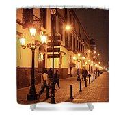 Street At Night, Lima Peru Shower Curtain