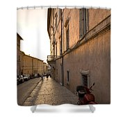 Street At Sundown In Assisi Shower Curtain