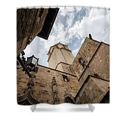 Street Behind The Barcelona Cathedral In Spain. Shower Curtain