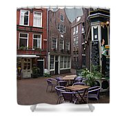 Street Cafe Mooy In Amsterdam Shower Curtain