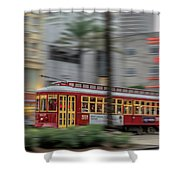 Street Car Flying Down Canal Shower Curtain