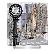 Street Clock On 5th Avenue Handmade Sketch Shower Curtain