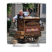 Street Entertainer In Bruges Belgium Shower Curtain