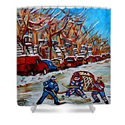 Street Hockey Hotel De Ville Shower Curtain
