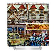 Street Hockey Pointe St Charles Winter  Hockey Scene Paul's Restaurant Quebec Art Carole Spandau     Shower Curtain