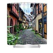 Street In Eguisheim, Alsace, France Shower Curtain