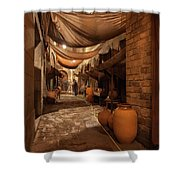 Street In Gothic District Of Barcelona At Night Shower Curtain