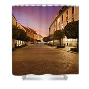 Street In Ostrow Tumski By Night In Wroclaw Shower Curtain