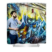 Street In Yellow And Blue . Shower Curtain