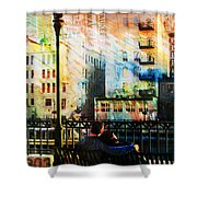 Street Lamp Bench Abstract W Map Shower Curtain by Anita Burgermeister