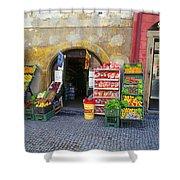 Street Market, Prague Shower Curtain