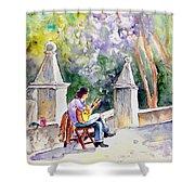 Street Musician In Pollenca Shower Curtain