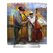 Street Musicians In Prague In The Czech Republic 01 Shower Curtain