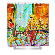Street Of Amsterdam - Four Girls Shower Curtain