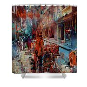 Street Of Nepal Colored  Shower Curtain
