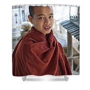 Street Portrait Of A Young Monk Shower Curtain