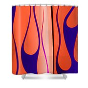 Street Rod Design In Orange And Blue Shower Curtain