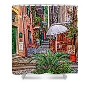 Street Scene Monterosso Italy Dsc02470 Shower Curtain