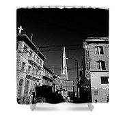 Street Scene With Transamerica Pyramid From Chinatown  Shower Curtain