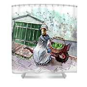 Street Seller In Helsingor Shower Curtain