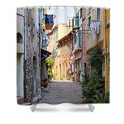 Street With Sunshine In Villefranche-sur-mer Shower Curtain