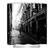 Streets Of Rome 2 Black And White Shower Curtain
