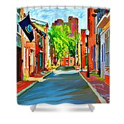 Streetscape In Federal Hill Shower Curtain by Stephen Younts