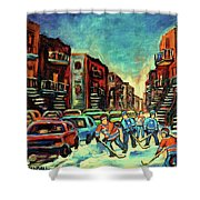 Streetscenes Of Montreal Hockey Paintings By Montreal Cityscene Specialist Carole Spandau Shower Curtain