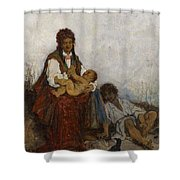 Streitt, Franciszek 1839 Brody - 1890  Rest On The Field. 1875. Shower Curtain