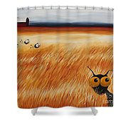 Stressie Cat And Crows In The Hay Fields Shower Curtain