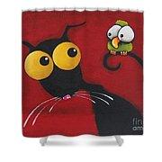 Stressiecat And The Bird Shower Curtain