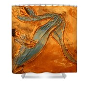 Stretchy Legs - Tile Shower Curtain