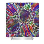 Striped Biggons Marbles Shower Curtain
