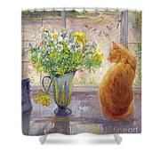Striped Jug With Spring Flowers Shower Curtain