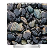 Striped Pebbles Shower Curtain