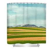 Stripes Of Crops Shower Curtain