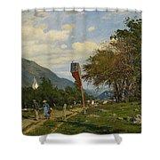 Strutzel, Otto 1855 Dessau - 1930   On The Way Home. In The Background The Steeple Of Garmisch-parte Shower Curtain