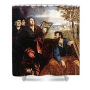 Sts John And Bartholomew With Donors 1527 Shower Curtain
