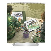Students Painting, China Shower Curtain