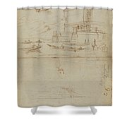 Studies Of Lago Maggiore And And The Entrance To A Palazzo Shower Curtain