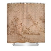 Study For The Figure Of Diogenes In The School Of Athens Shower Curtain
