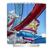 Study In Shipboard Waterslides Shower Curtain